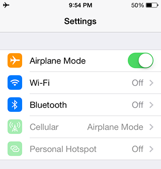 Airplane mode disables your phone's radios